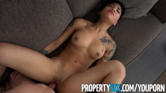 PropertySex – Hot petite tenant late on rent fucks her landlord