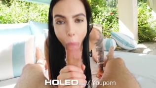 HOLED Brunette Marley Brinx fucked in both holes with nostril facial