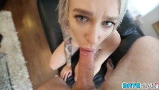 Tattooed Russian with big tits sucking on Snapchat Hookup