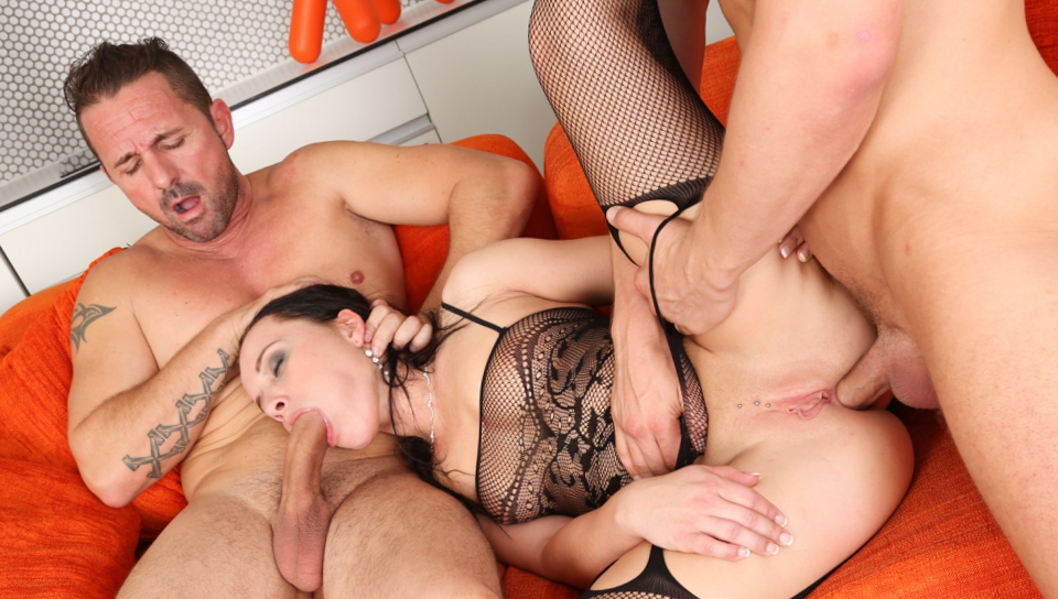 Brunette Wendy gets two cocks