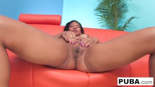 Cute little Latina Emy Reyes masturbates to completion
